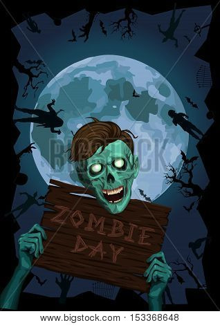 Halloween night moon zombi zombie evil spirits monster freak beast skeleton hipster hold wooden board party invite bat graveyard.Vector vertical closeup view front portrait face illustration poster signboard.