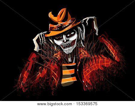 Misty stranger on halloween Ghosty halloween character on black background - vector illustration
