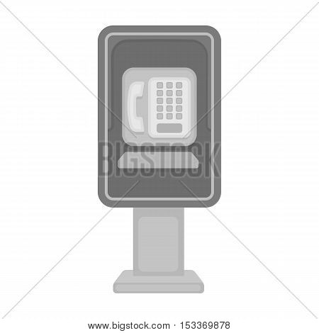 Payphone icon in monochrome style isolated on white background. Park symbol vector illustration.