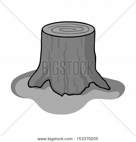 Tree stump icon in monochrome style isolated on white background. Sawmill and timber symbol stock vector illustration.