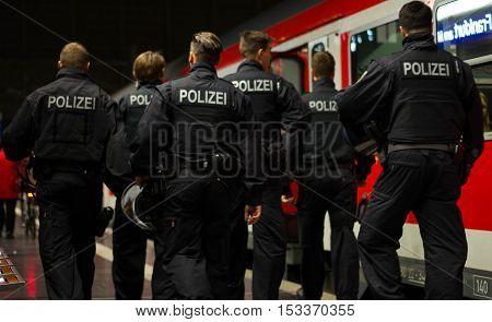 Frankfurt am Main, Hessen, Germany - October 25, 2016: Policemen patrolling in Frankfurt am Main Hauptbahnhof