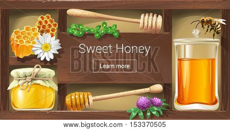 Vector illustration of a wooden rack with honey, a template for the loading of the page web site