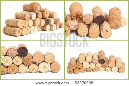 Collage of Wine corks isolated on white background
