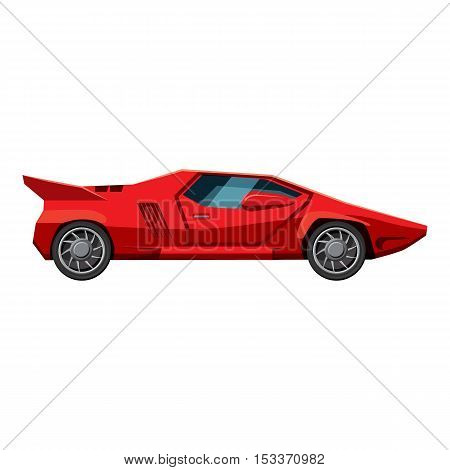 Red sport car side view icon. Isometric 3d illustration of red sport car side view vector icon for web