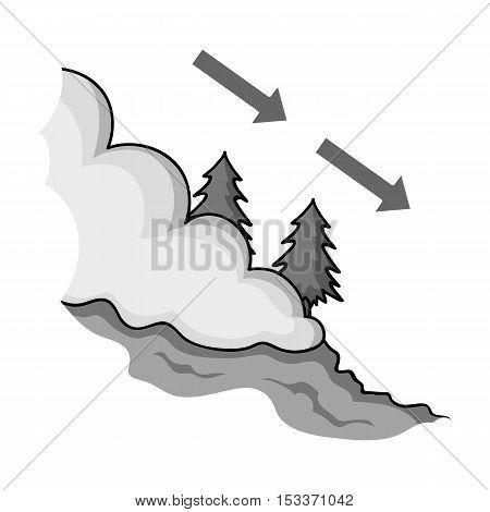 Avalanche icon in monochrome style isolated on white background. Ski resort symbol vector illustration.