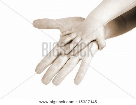 Father and child's hands isolated on white
