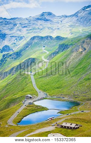 alpine lake and road in Grossglockner pass, Austria