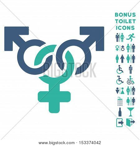 Polyandry icon and bonus male and woman WC symbols. Vector illustration style is flat iconic bicolor symbols, cobalt and cyan colors, white background.