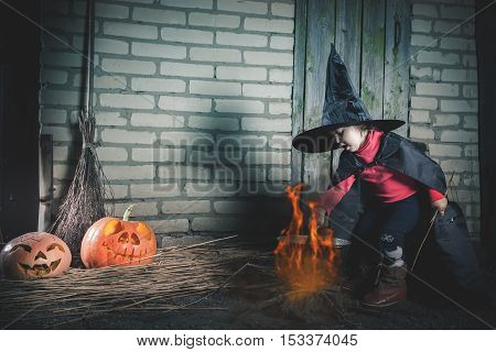 Little baby witch making a magic potion at Halloween night. Horror. Pumpkins, broom. Halloween costumes for child. Witch.