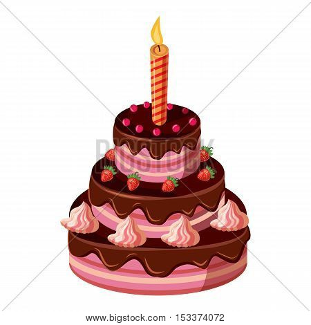 Birthday cake with candle icon. Isometric 3d illustration of birthday cake with candle vector icon for web