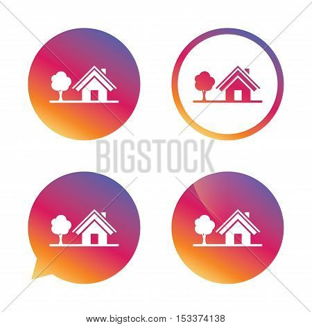 Home sign icon. House with tree symbol. Gradient buttons with flat icon. Speech bubble sign. Vector