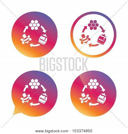 Producing honey and beeswax sign icon. Honeycomb cells symbol. Honey in pot. Sweet natural food cycle in nature. Gradient buttons with flat icon. Speech bubble sign. Vector