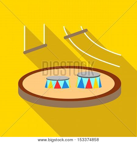 Circus arena icon. Flat illustration of circus arena vector icon for web isolated on yellow background