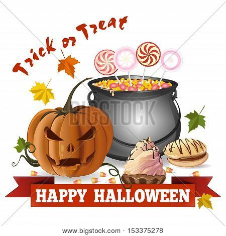 Halloween design. Jack-o'-lantern on the background of cauldron with with candy, lollipops, cookies, biscuits, cake. Trick or treat. Happy Halloween. Greeting card for Halloween