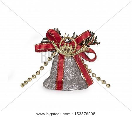 Festive glitter: christmas Silver bell in seasonal winter holidays isolated on white