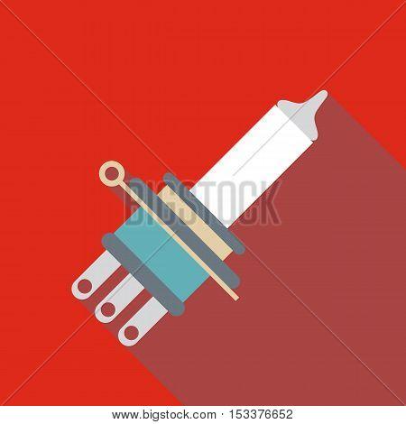 Car headlamp bulb icon. Flat illustration of car headlamp bulb vector icon for web isolated on red background