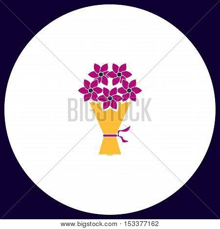 bouquet Simple vector button. Illustration symbol. Color flat icon