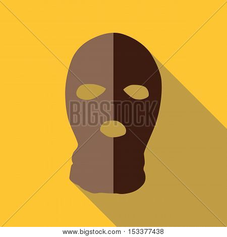 Balaclava icon. Flat illustration of balaclava vector icon for web isolated on yellow background