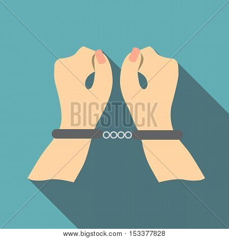 Pair of hands in handcuffs icon. Flat illustration of pair of hands in handcuffs vector icon for web isolated on baby blue background