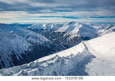 Beautiful Winter View From The Summit Of Kasprowy Wierch, Tatra Mountains, Polska