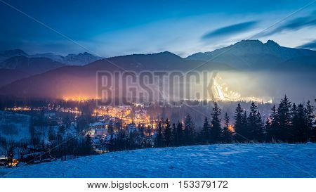 Zakopane During The Skiing Competitions At Dusk In Winter, Poland