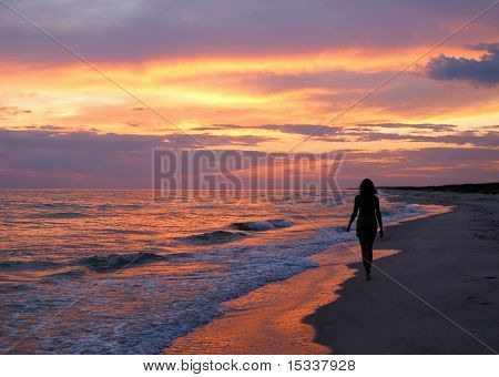 Beautiful young woman silhouette on sunset background