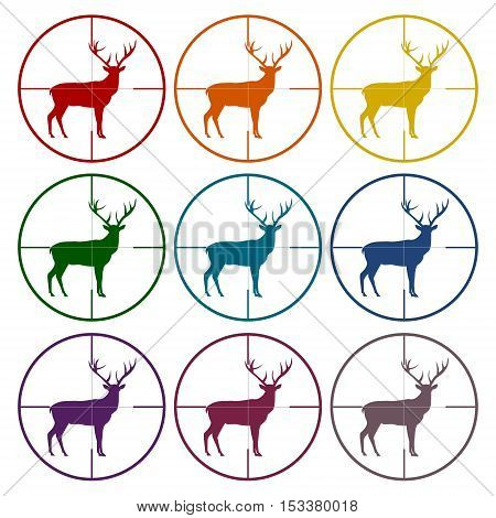 Hunting Season with Deer in gun sight icons set
