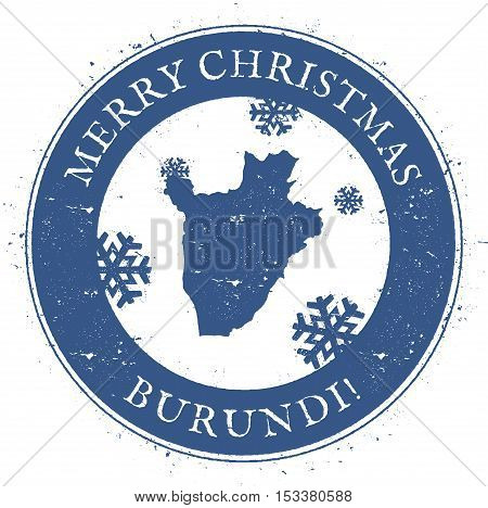 Burundi Map. Vintage Merry Christmas Burundi Stamp. Stylised Rubber Stamp With County Map And Merry