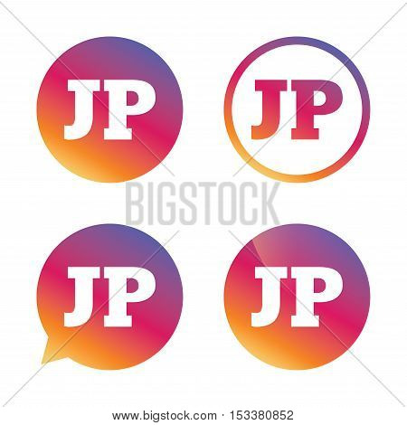 Japanese language sign icon. JP Japan translation symbol. Gradient buttons with flat icon. Speech bubble sign. Vector