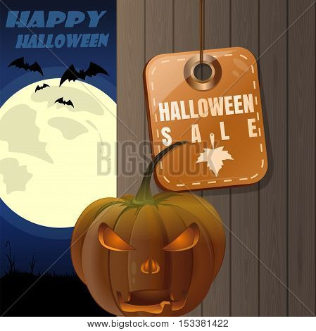 Halloween design. Price tag with inscription - Halloween sale. Jack-o'-lantern on a background of a wooden fence and a full moon. Illustration for Halloween