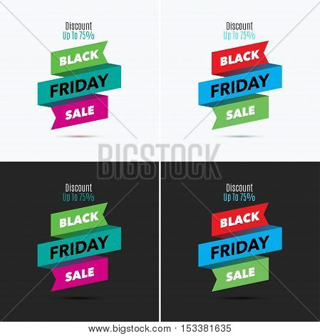 Black Friday sale design template. Creative banner. Vector ribbon colorful illustration, marketing price tag, discount, advertising. Abstract vector illustration for shopping. Set.