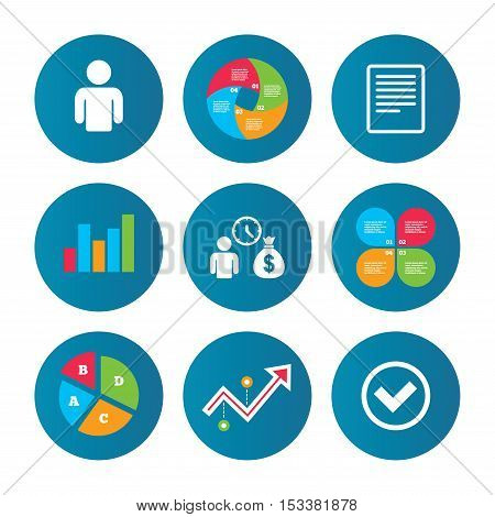 Business pie chart. Growth curve. Presentation buttons. Bank loans icons. Cash money bag symbol. Apply for credit sign. Check or Tick mark. Data analysis. Vector