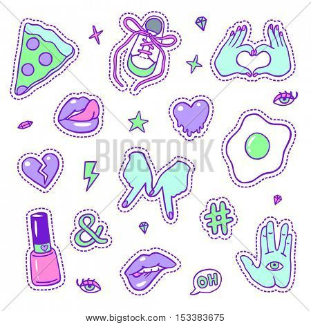 Set of neon color fashion sketchy patches. Different trendy badges and pins. Oldschool vector pictograms in line-art style with 90's colors. Hearts, hands, fruits, hashtags and diamonds icons.