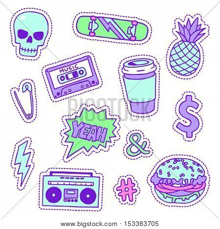 Set of neon color masculine sketchy patches. Different trendy badges and pins. Oldschool vector pictograms in line-art style with 90's colors. Skate, mixtape, coffee and lightning bolt icons.
