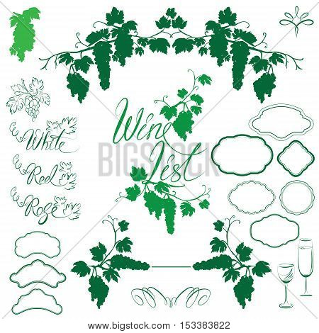 Set of Grapes silhouettes frames calligraphic handdrawn text Wine List vignettes for wine labels or menu design. Isolated on white background