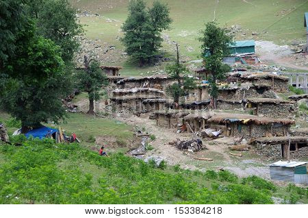 Nomadic village in Sonamarg in Kashmir, in India