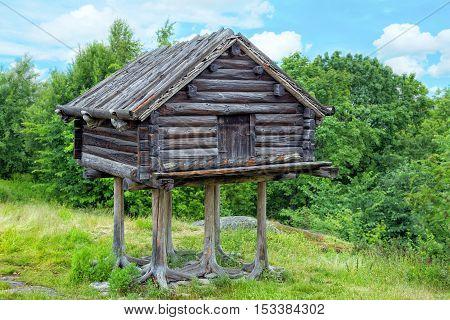 The hut on chicken legs in park Skansen Stockholm Sweeden