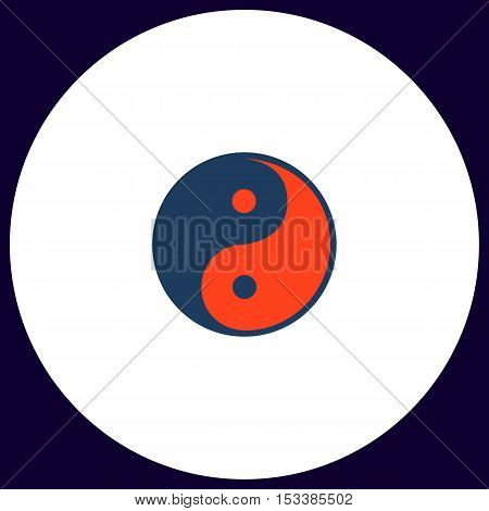Ying-yang Simple vector button. Illustration symbol. Color flat icon