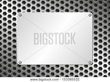 metal plaque on grate background - vector illustration