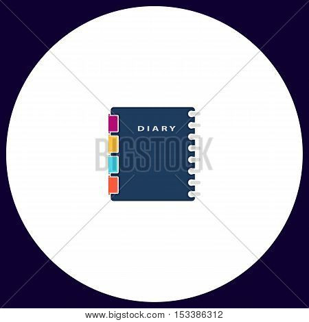 copybook Simple vector button. Illustration symbol. Color flat icon
