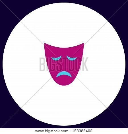 tragedy mask Simple vector button. Illustration symbol. Color flat icon