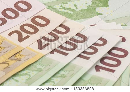 Different Euro bank notes 100, 200,500 background