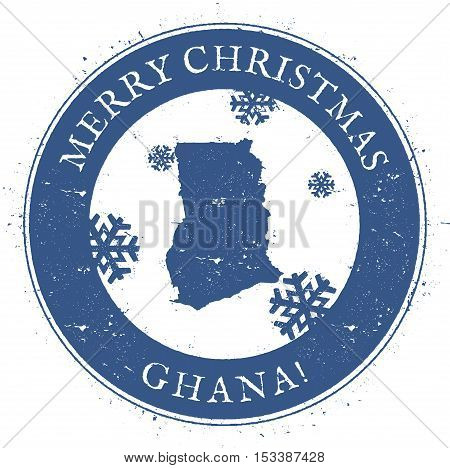 Ghana Map. Vintage Merry Christmas Ghana Stamp. Stylised Rubber Stamp With County Map And Merry Chri