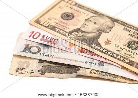 American dollars European euro Chinese yuan and Russian Ruble bills