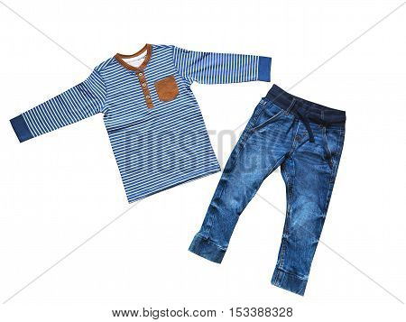 Boy clothes concept of child fashion. Flat lay children's clothing. Top view fashion trendy look of boy clothes. Isolate on white
