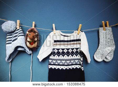 Baby Autumn Or Winter Fashion Concept Background.