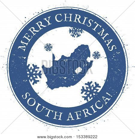 South Africa Map. Vintage Merry Christmas South Africa Stamp. Stylised Rubber Stamp With County Map