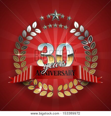 30th anniversary frame in the golden form of laurel branches. Frame for 30th anniversary. Anniversary ring with red ribbon. Anniversary festive celebration emblem. Vector illustration