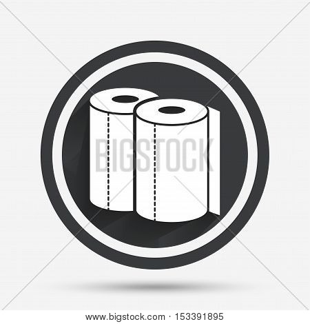 Paper towels sign icon. Kitchen roll symbol. Circle flat button with shadow and border. Vector