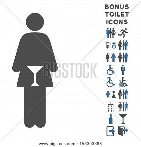 WC Woman icon and bonus male and woman WC symbols. Vector illustration style is flat iconic bicolor symbols, cobalt and gray colors, white background.